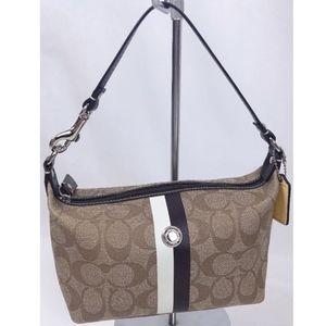 COACH Signature Coated Canvas Stripe Small Handbag